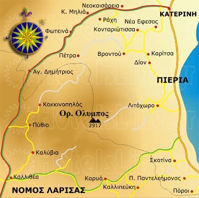 Ολυμπος χάρτης. Διαμονή στον Ολυμπο