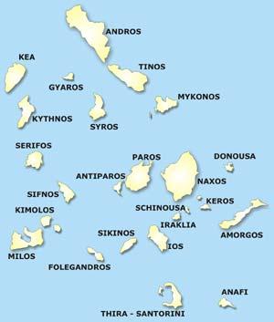 Κυκλάδες, Χάρτης Κυκλάδων