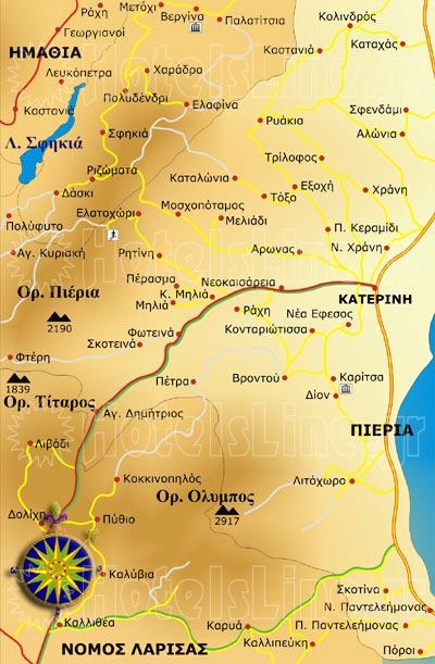 Ορεινή Πιερία χάρτης. Διαμονή στην ορεινή Πιερία