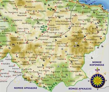 Χάρτης της ορεινής Αχαϊας