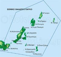 Χάρτης του Εθνικού Θαλάσσιου Πάρκου Βορείων Σποράδων