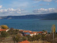 View to Agios Panteleimonas in Florina, Vegoritida lake at the background