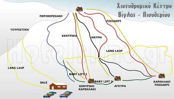 Σχεδιάγραμμα χιονοδρομικού κέντρου Βίγλας Πισοδερίου