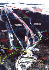 Σχεδιάγραμμα πιστών και αναβατήρων χιονοδρομικού κέντρου 3-5 Πηγάδια
