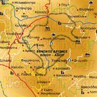 Εθνικός Δρυμός βίκου Αώου, χάρτης