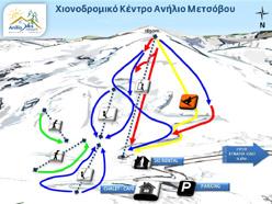 Σχεδιάγραμμα πιστών και αναβατήρων χιονοδρομικού κέντρου Ανηλίου Μετσόβου