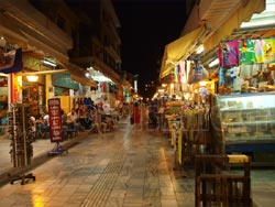 Heraklion, Crete. The old charming and picturesque market with countless shops