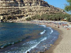 Matala in Heraklion. The beautiful beach with the caves of Hippes