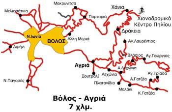 Χάρτης διαδρομής Βόλου - Αγριάς