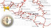 Χάρτης διαδρομών από Βόλο προς τη Βυζίτσα και τις γύρω πειοχές