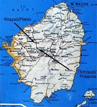 Χάρτης τοποθεσίας των κούρων στο Φλεριό και Ποταμιά