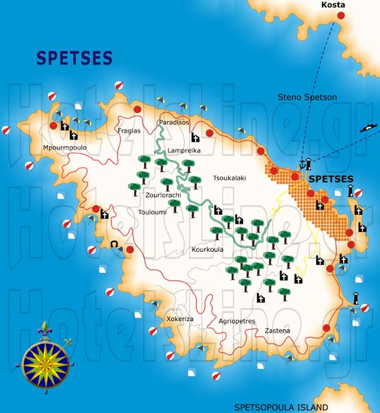 SPETSES Access map Spetses Map of Spetses Saronikos interesting